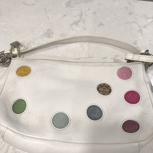 Coach white leather polka dot small purse